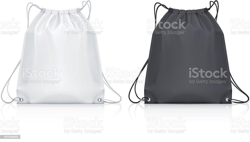 Drawstring backpack vector art illustration
