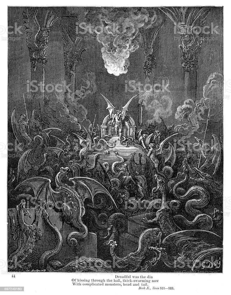 Dreadful was the din of hissing through the hall 1885 vector art illustration