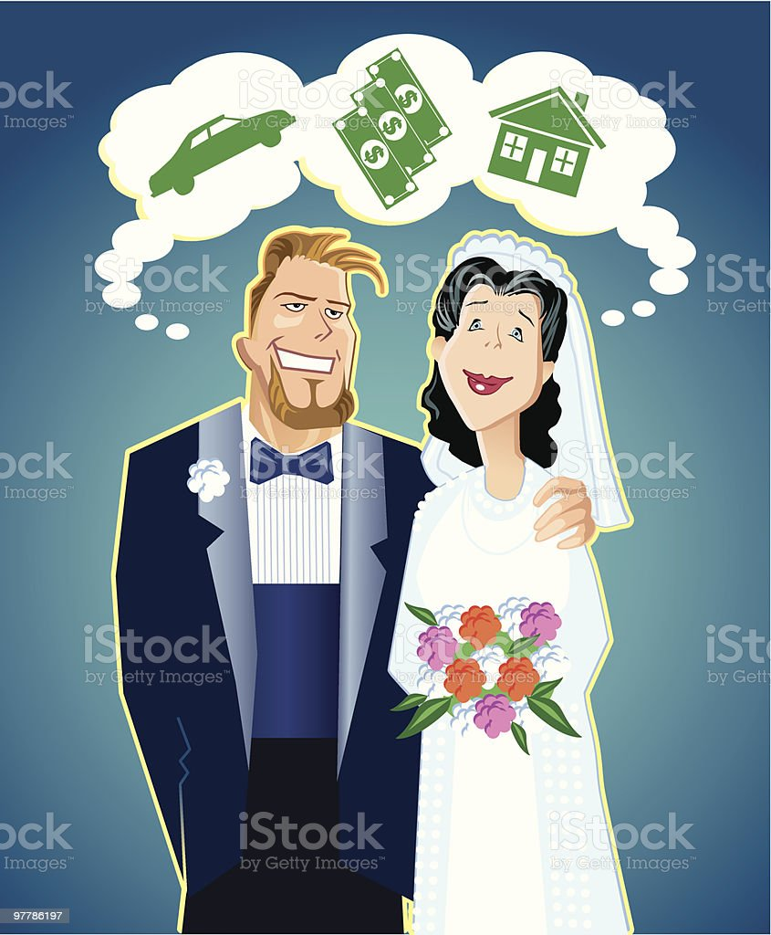 'Dreamers' - New Married Couple royalty-free stock vector art