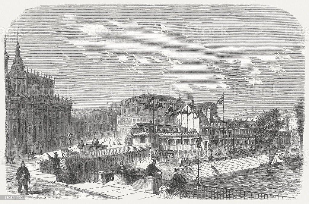 Dresden, Helbig's Establishment (Italienisches Dörfchen), wood engraving, published in 1864 vector art illustration