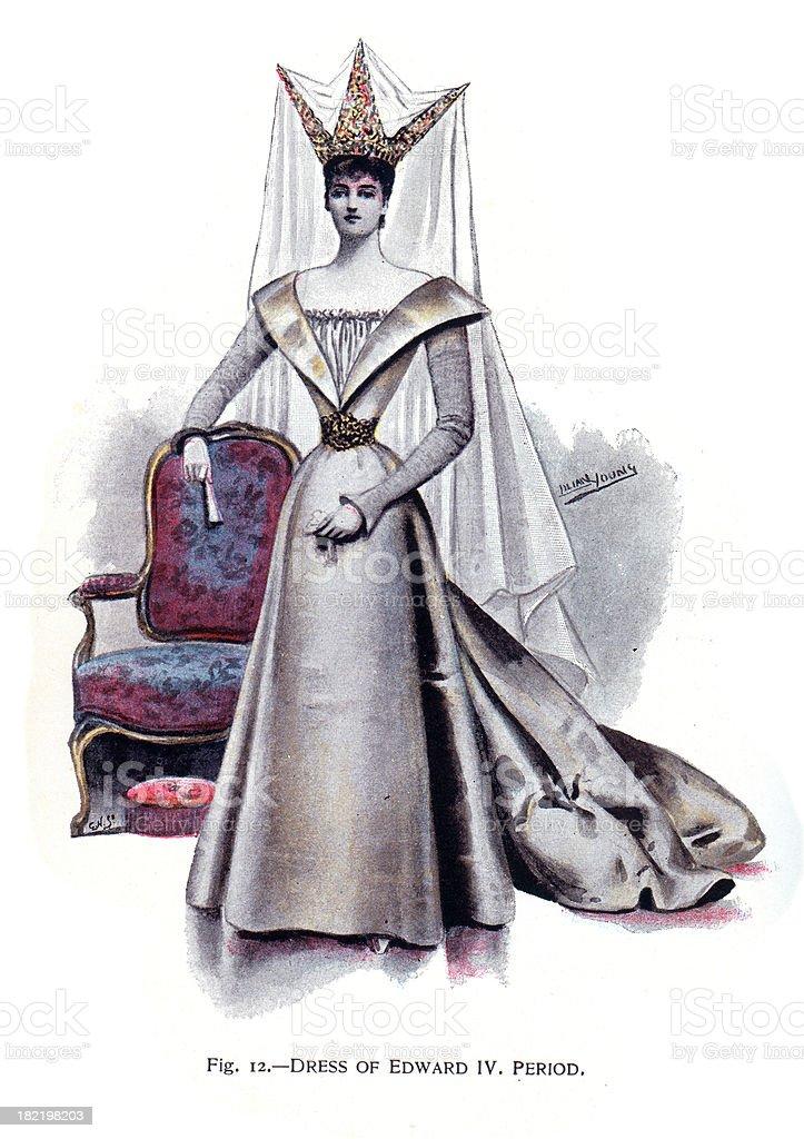 Dress of Edward IV Period vector art illustration