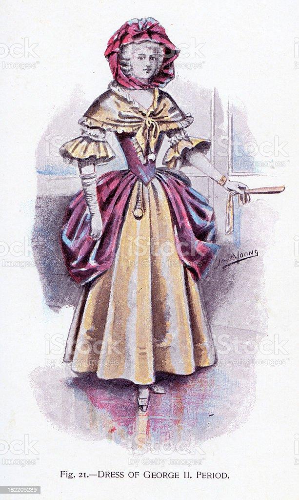 Dress of George II Period vector art illustration