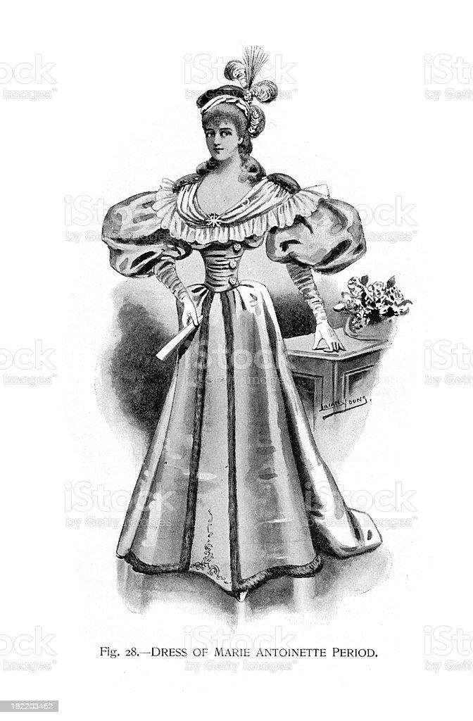 Dress of Marie Antoinette Period vector art illustration