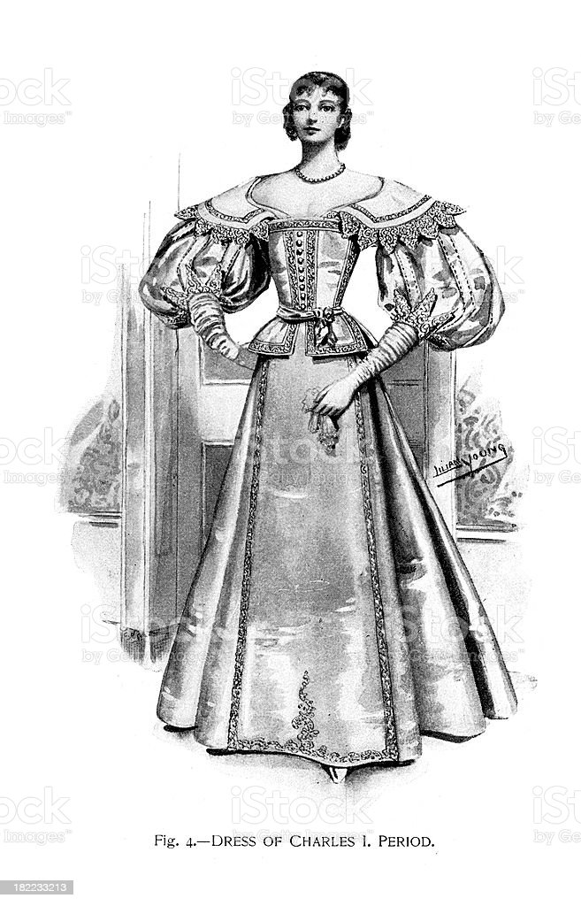 Dress of the Charles I period vector art illustration