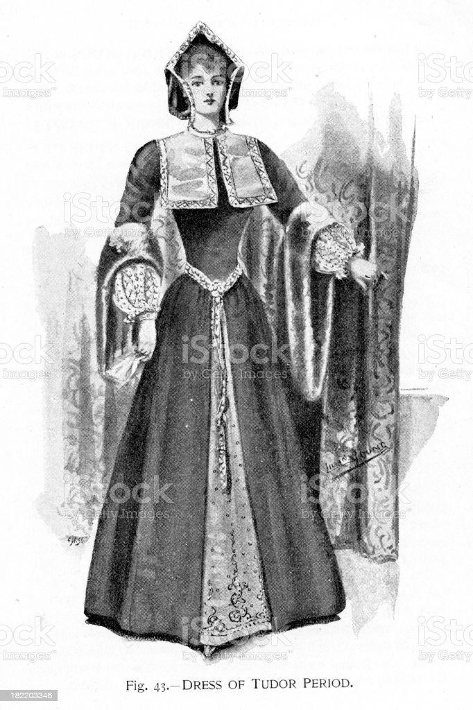 Dress of Tudor Period vector art illustration