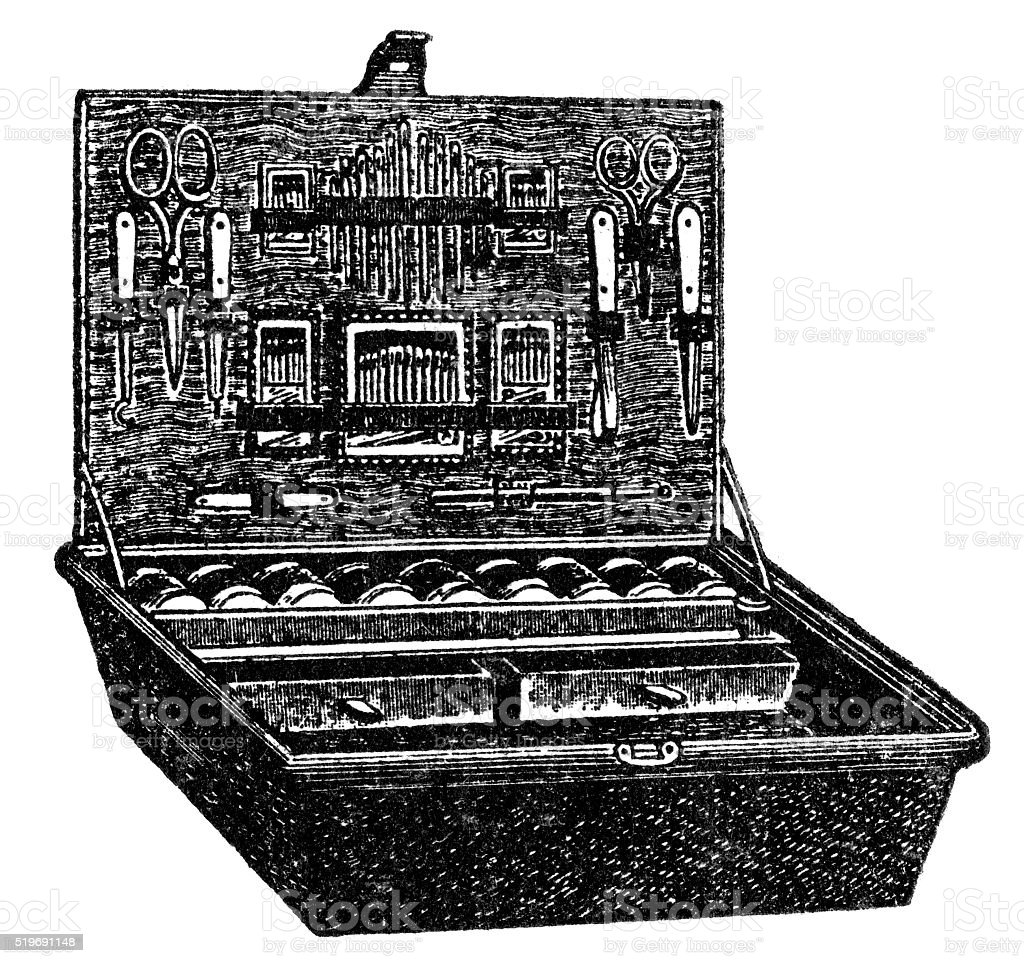 dressing case vector art illustration