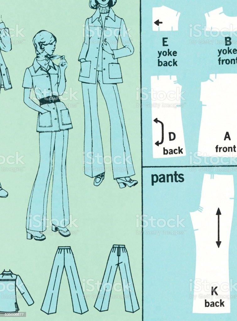 Dressmaker's pattern vector art illustration