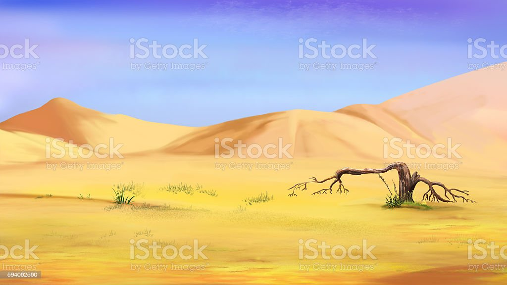 Dried Small Tree in the Desert vector art illustration