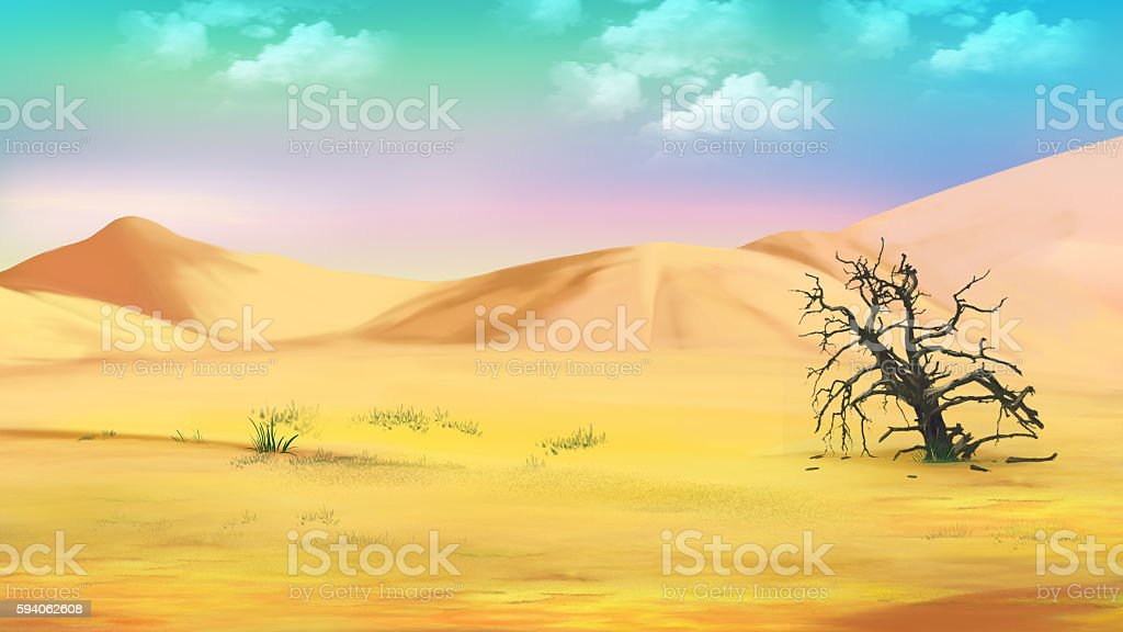 Dried Tree in the Hot Desert vector art illustration