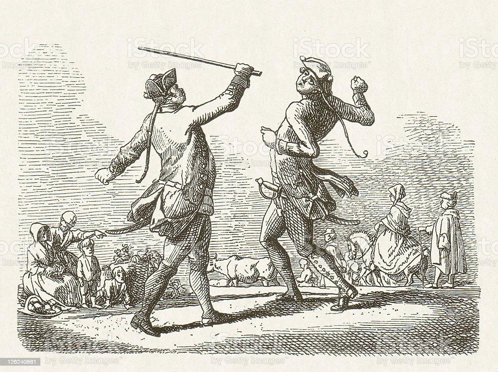 Drill Scene under Frederick William I (1688-1740), published in 1881 vector art illustration