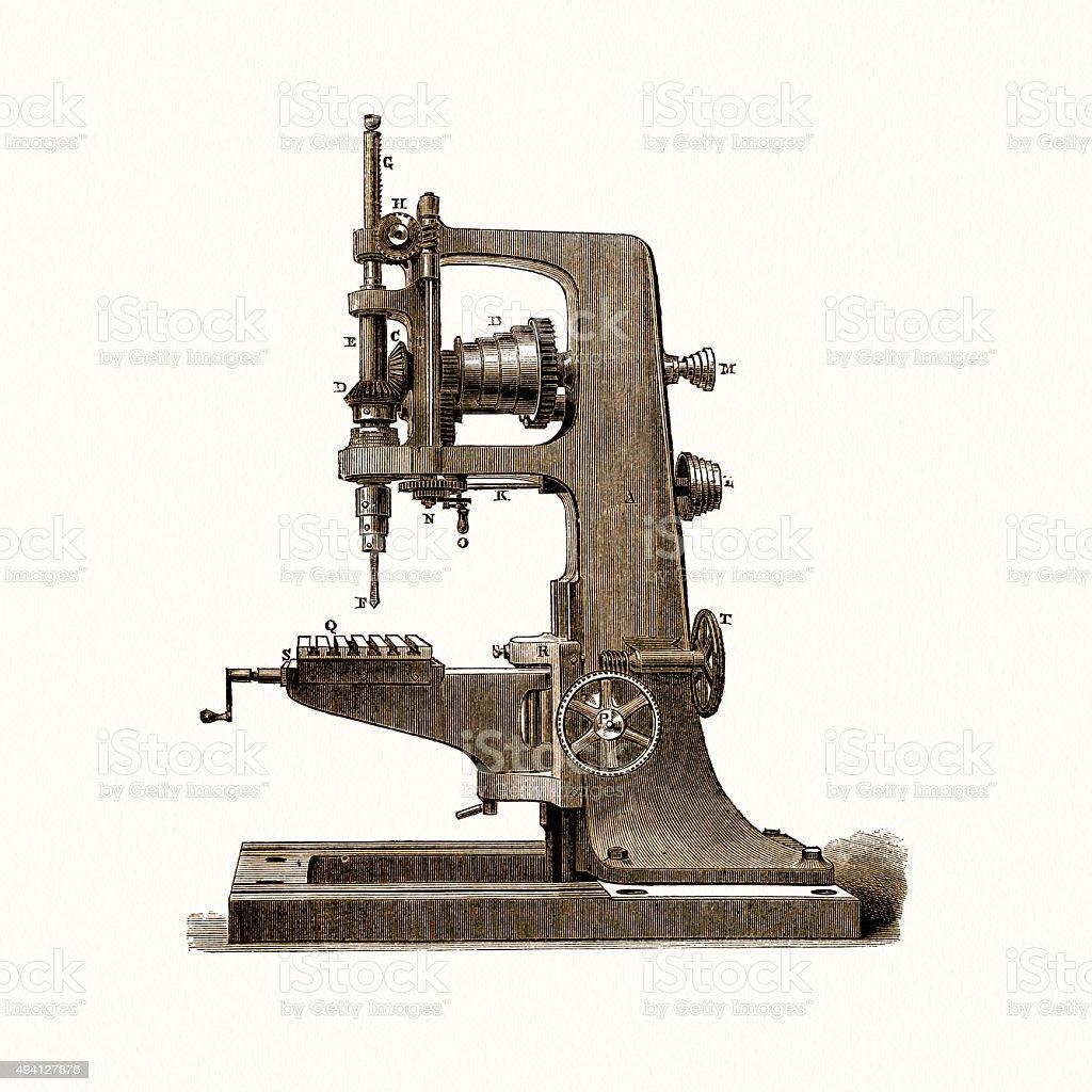 Drilling machine, 19 century technical illustration vector art illustration