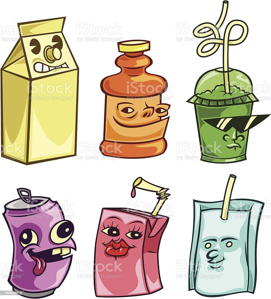 Drink Container Buddies vector art illustration