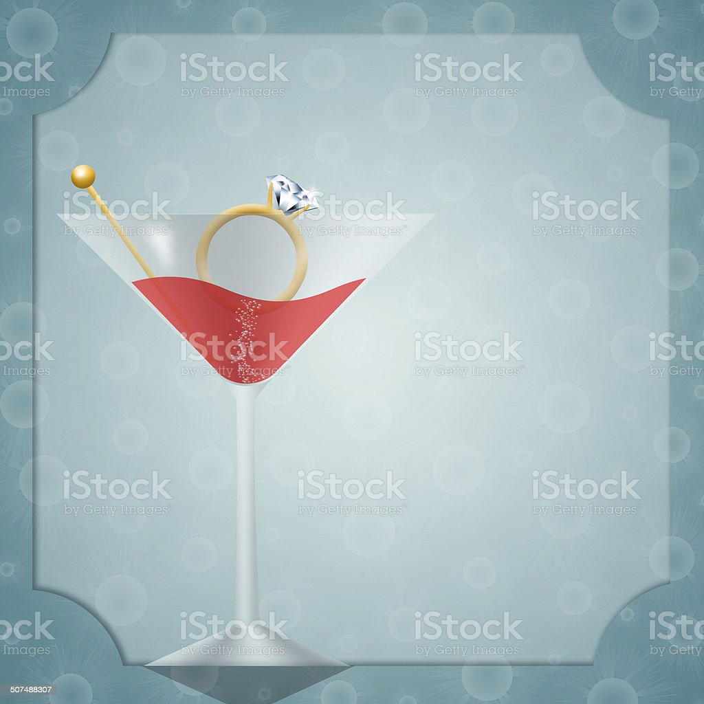 Drink with ring for bachelorette party vector art illustration