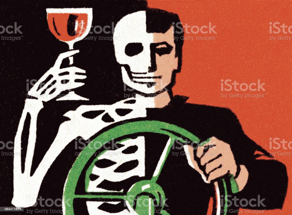 Drinking and Driving vector art illustration