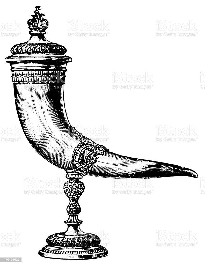 Drinking horn   Antique Design Illustrations vector art illustration