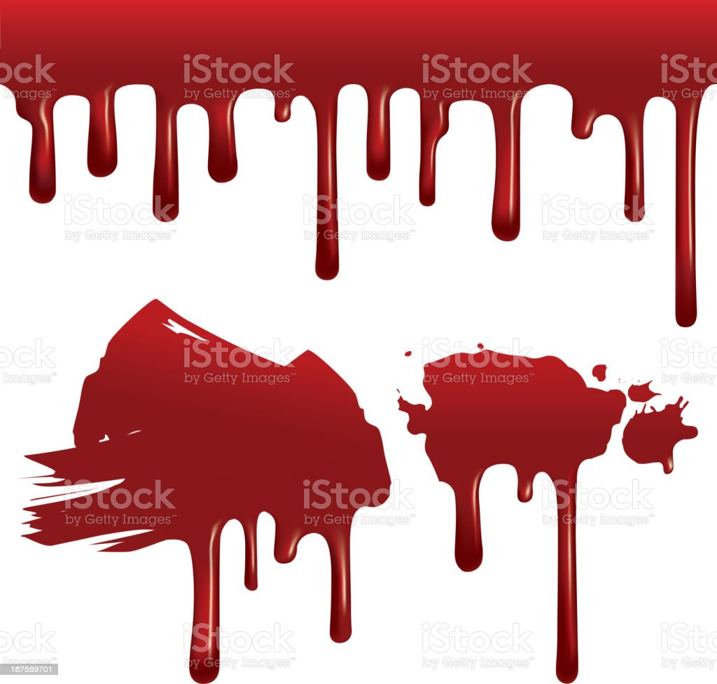 Dripping blood (seamless) vector art illustration