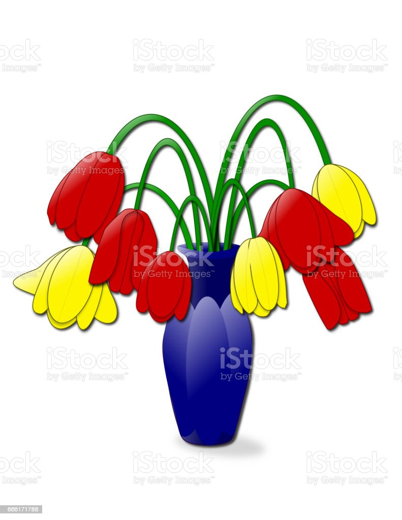 Droopy Tulips vector art illustration