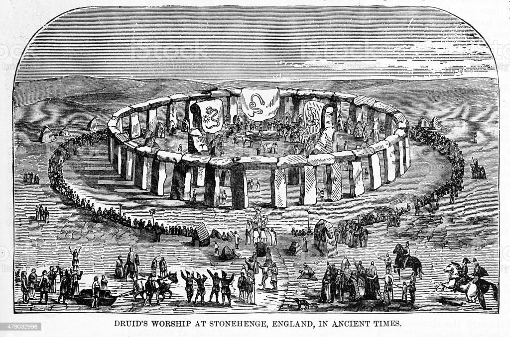 Druids Worshiping at Stonehenge, England in Ancient Times Engraving vector art illustration