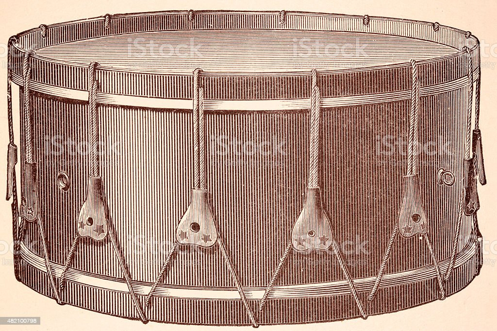 Drum Music instruments 19th century illustration vector art illustration
