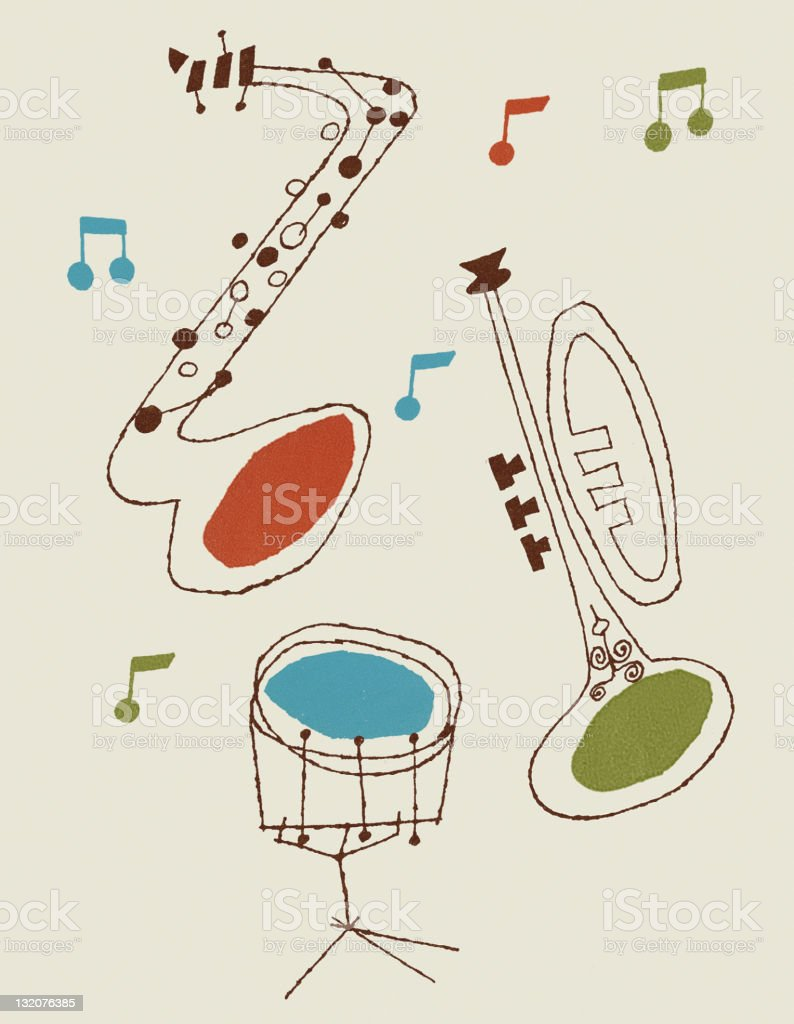 Drum, Saxophone and Trumpet royalty-free stock vector art