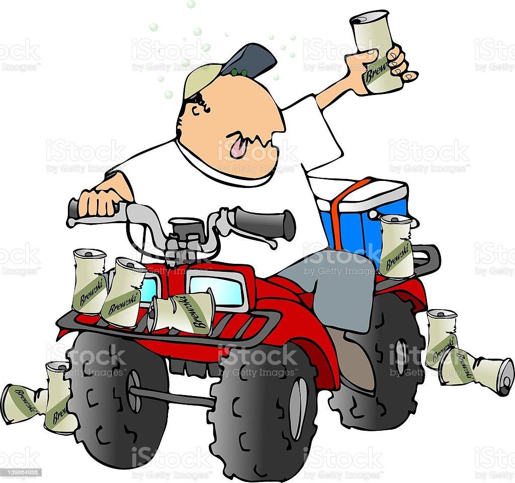 Drunk ATV rider royalty-free stock vector art