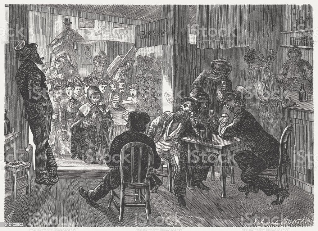 Drunkards in the Wild West, wood engraving, published in 1880 vector art illustration