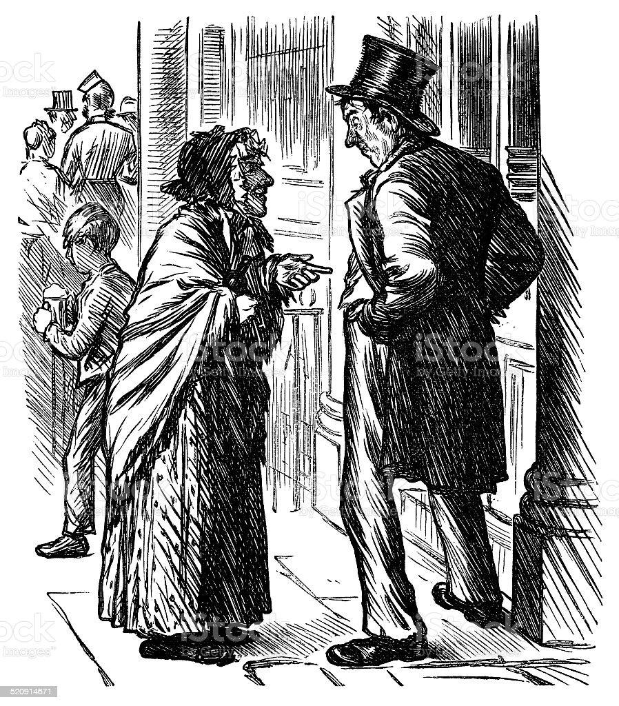 Drunken Victorian man outside a pub vector art illustration