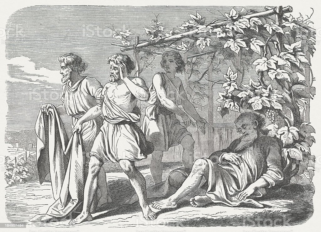 Drunkenness of Noah (Genesis 9, 21-23), wood engraving, published 1877 royalty-free stock vector art