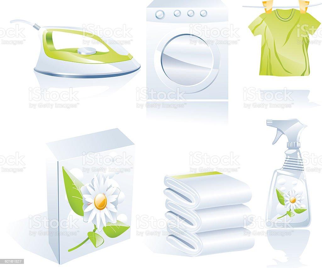 Dry cleaner's icon set vector art illustration