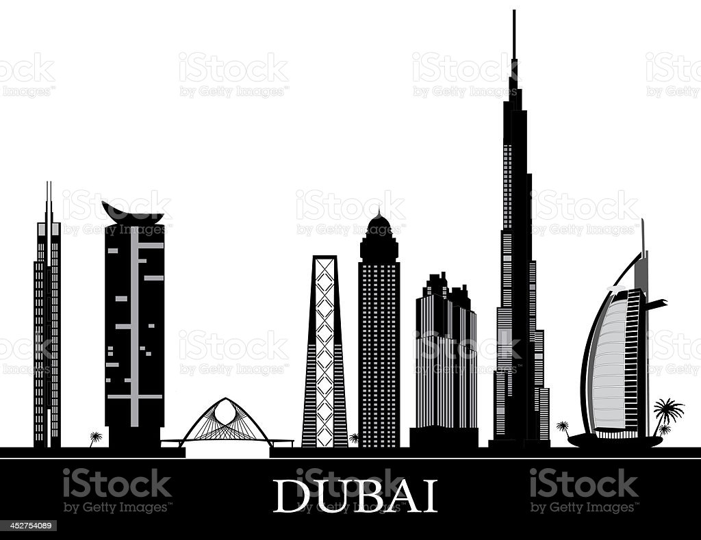 dubai skyline vector art illustration
