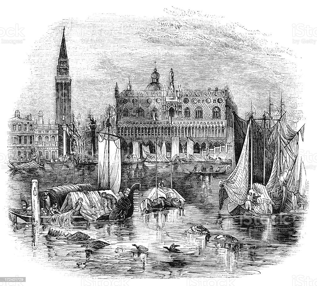 'Ducal Palace and Campanile, Venice (Victorian woodcut)' vector art illustration
