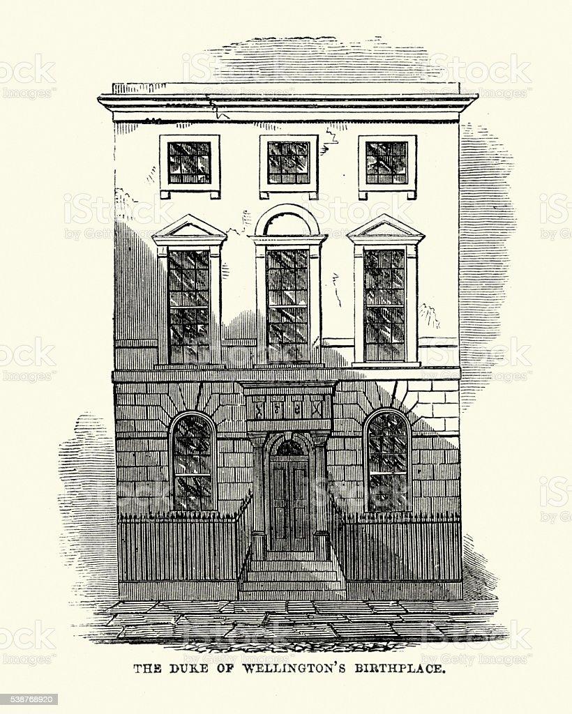 Duke of Wellington birthplace, Dublin, Ireland vector art illustration