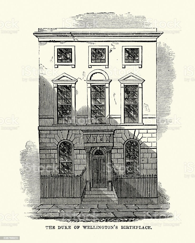 Duke of Wellington birthplace, Dublin, Ireland vector art illustration