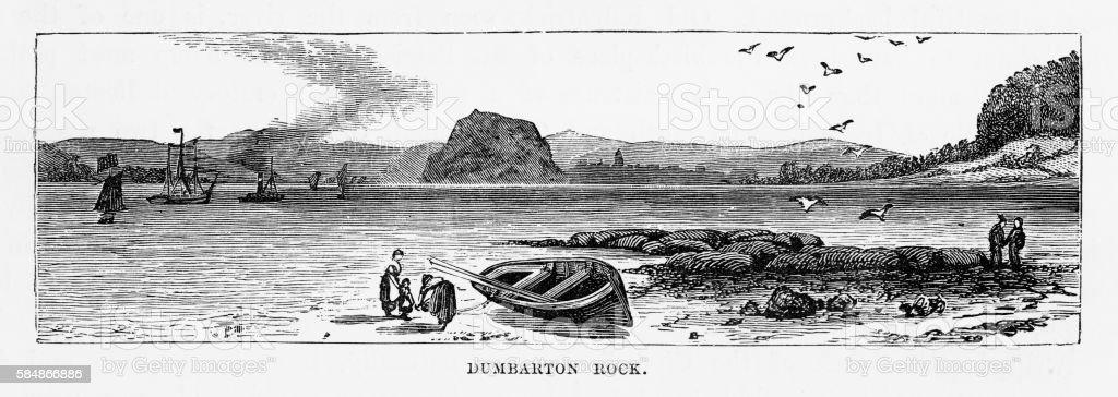 Dumbarton Rock in Dumbarton, Scotland Victorian Engraving, Circa 1840 vector art illustration