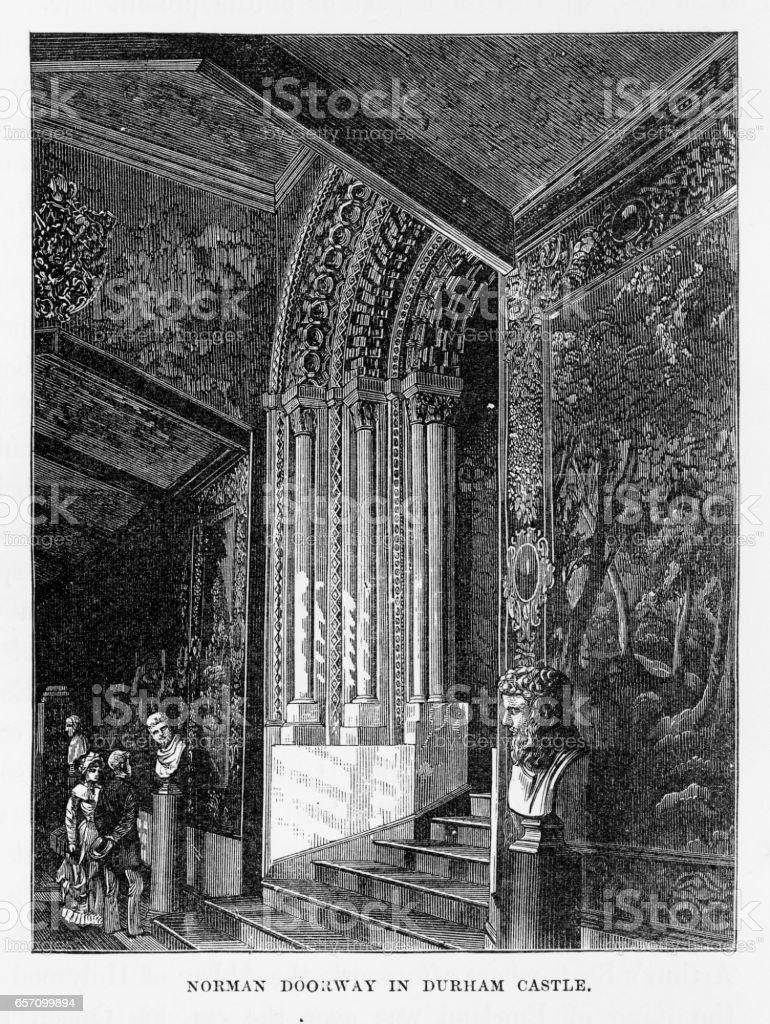 Durham Castle Doorway in Durham, England Victorian Engraving, 1840 vector art illustration