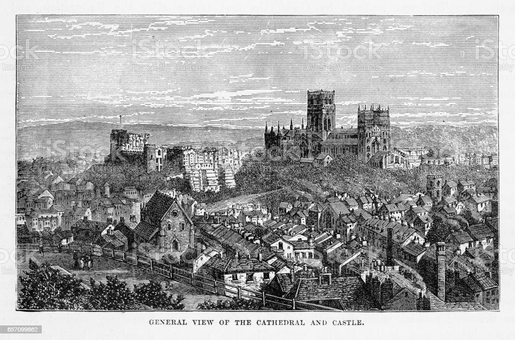 Durham Cathedral and Durham Castle, Durham, England Victorian Engraving, 1840 vector art illustration
