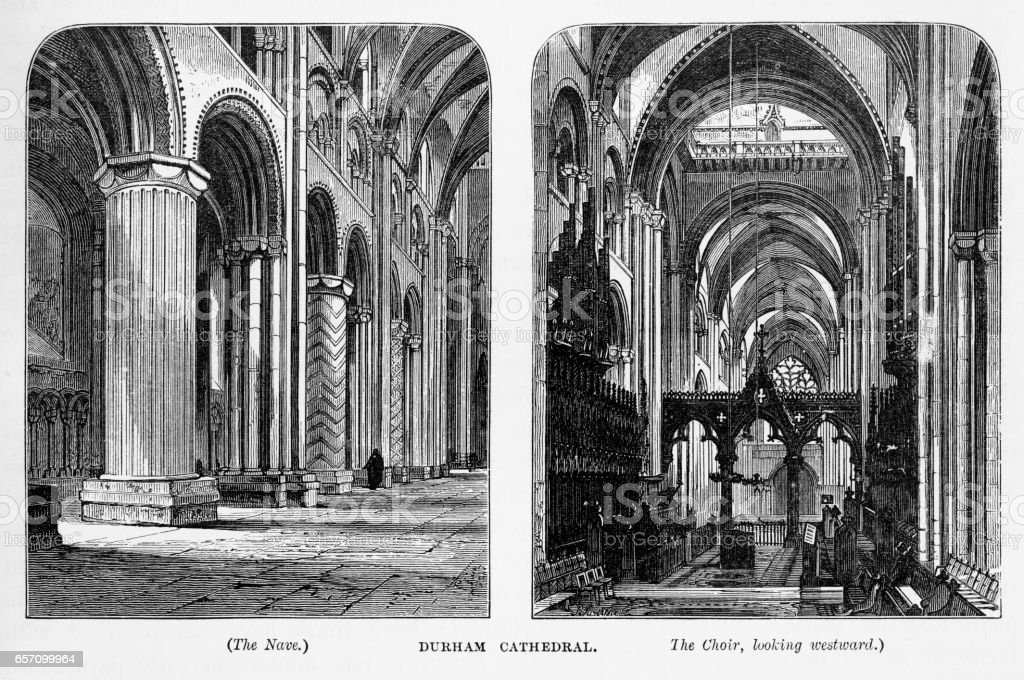 Durham Cathedral in Durham, England Victorian Engraving, 1840 vector art illustration