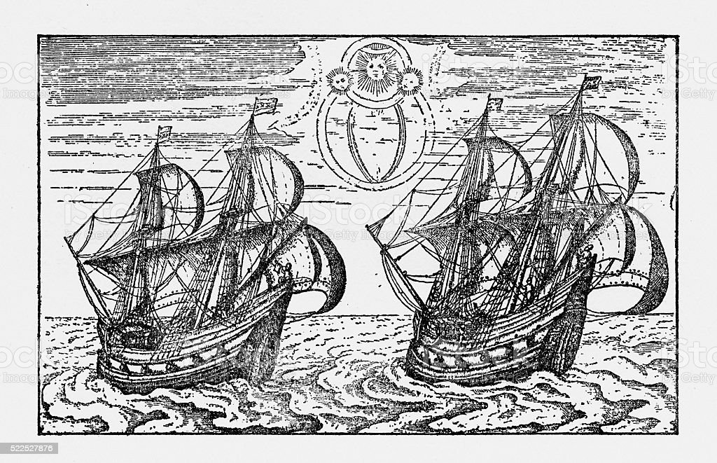 Dutch Merchant Ships from the 16th Century, Victorian Illustration vector art illustration