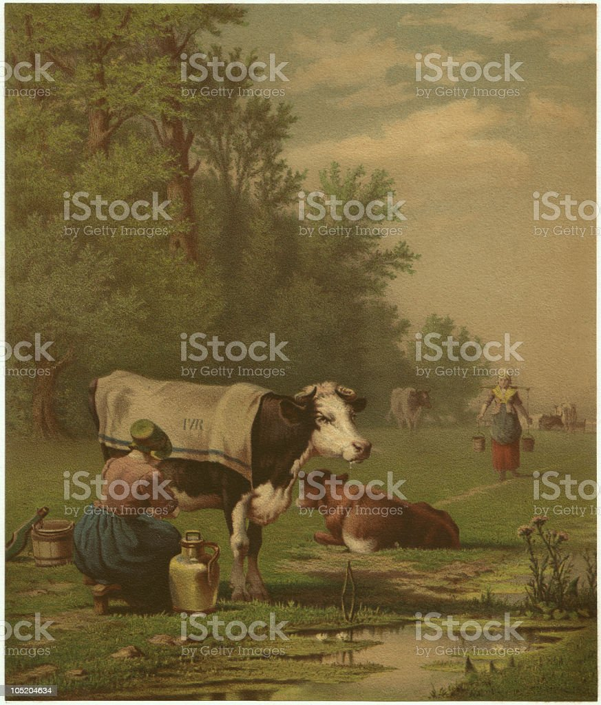 Dutch pasture - by Richard Burnier (1826-1884), lithograph, published 1873 royalty-free stock vector art
