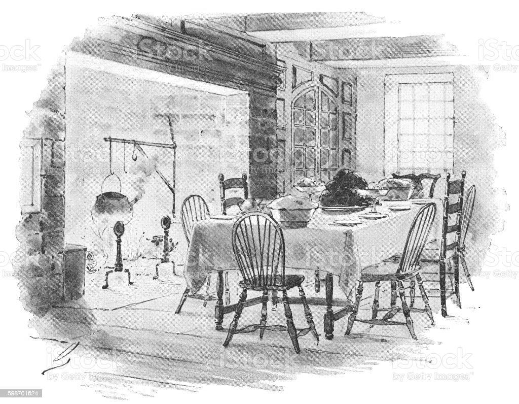 Dutch-American 18th century home interior vector art illustration