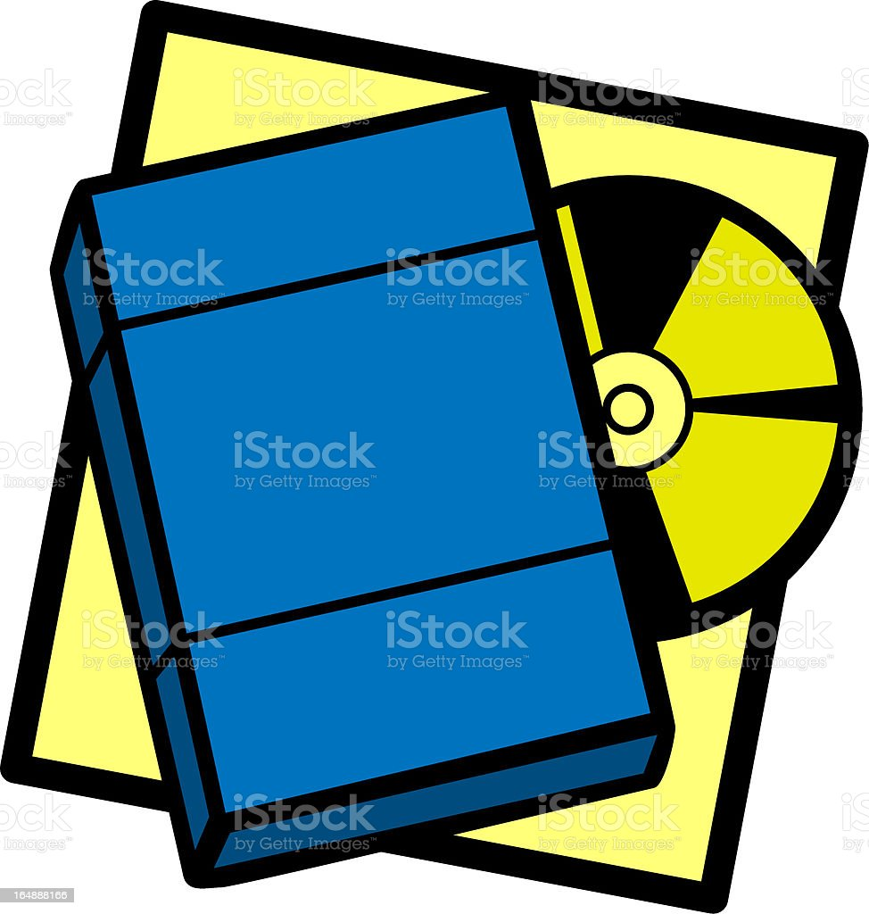 dvd with box vector art illustration