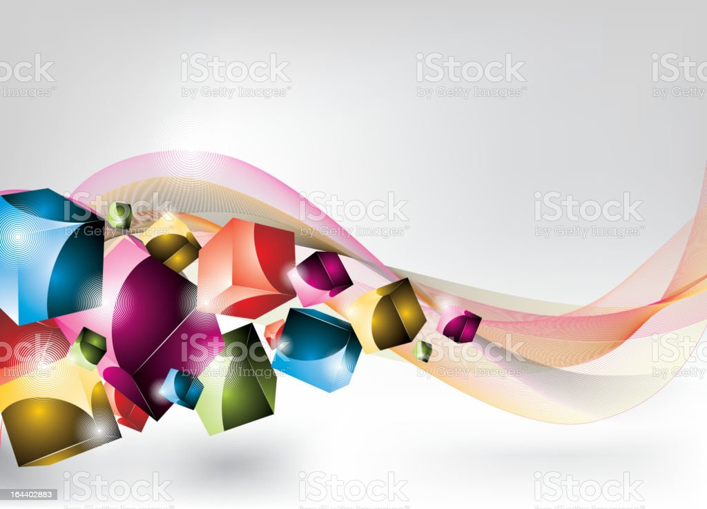 Dynamic design background with coloured cubes. royalty-free stock vector art