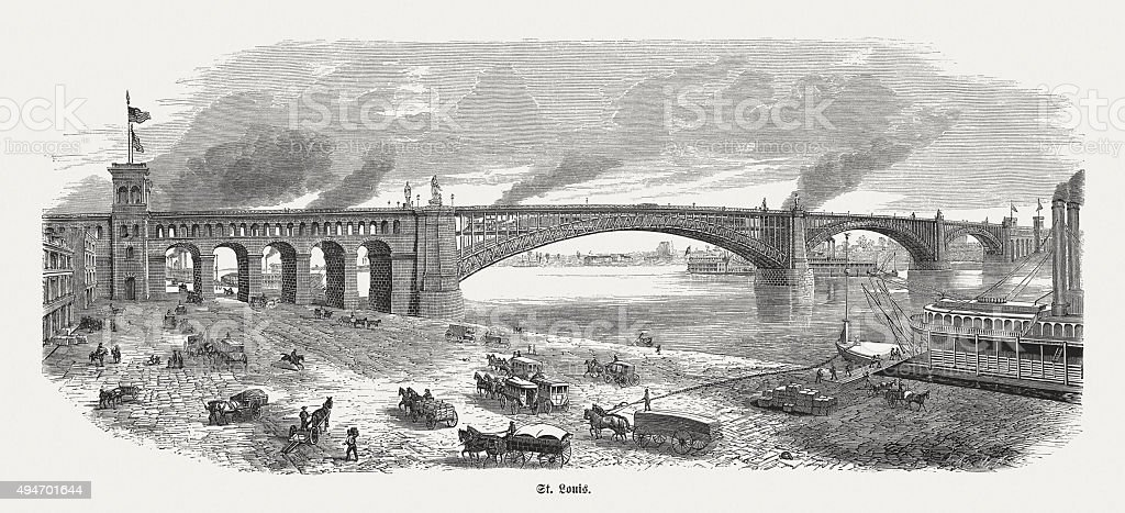 Eads Bridge in St. Louis, published in 1874 vector art illustration