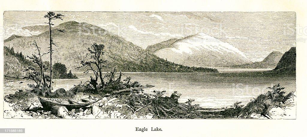 Eagle Lake, Mount Desert, Maine   Historic American Illustrations royalty-free stock vector art