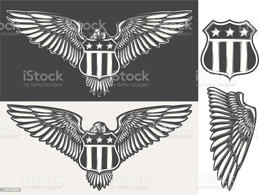 eagle & shield vector art illustration