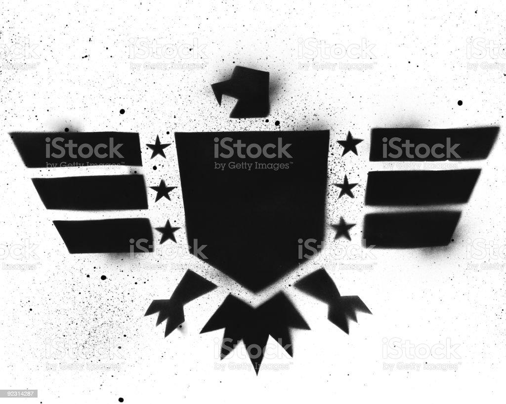 Eagle Shield Stencil vector art illustration