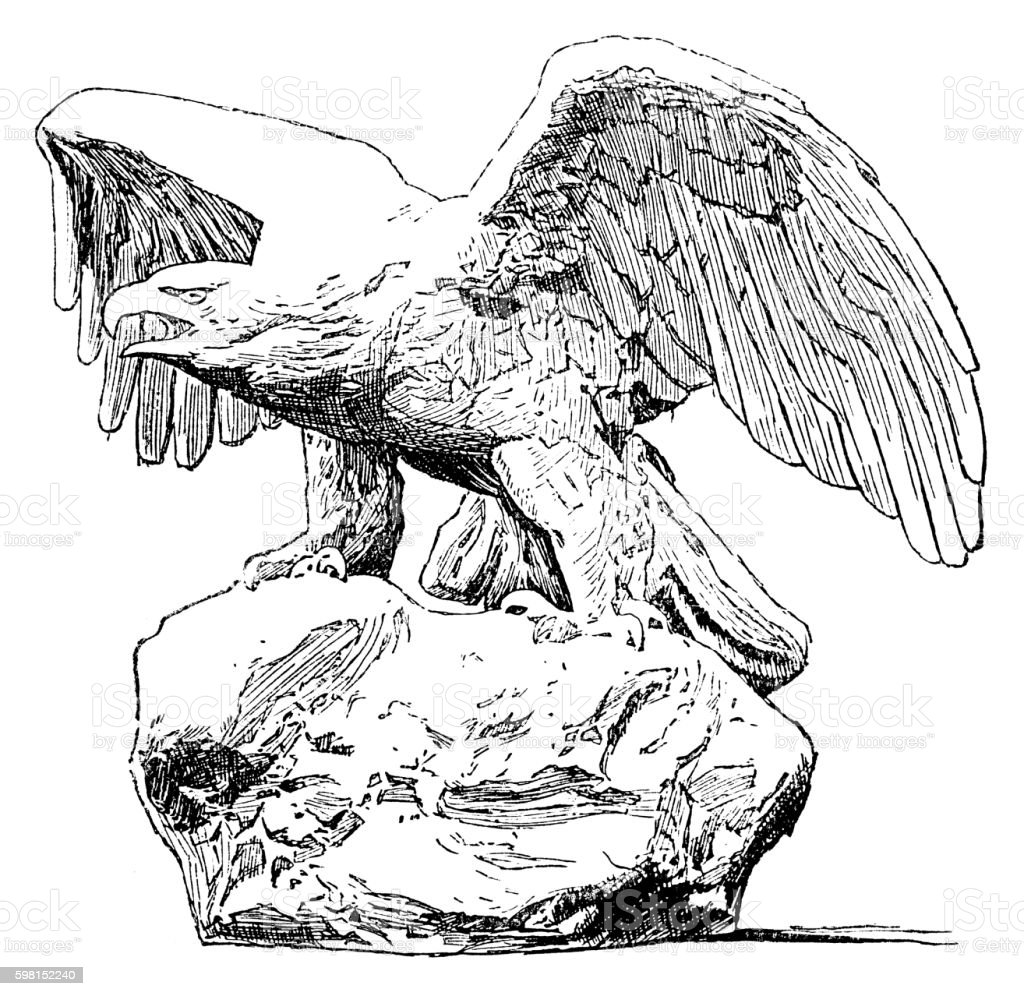 Eagle Statue vector art illustration