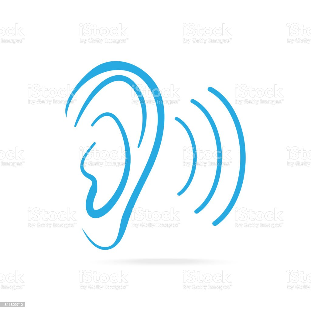 Ear blue icon, hearing and ear icon vector art illustration