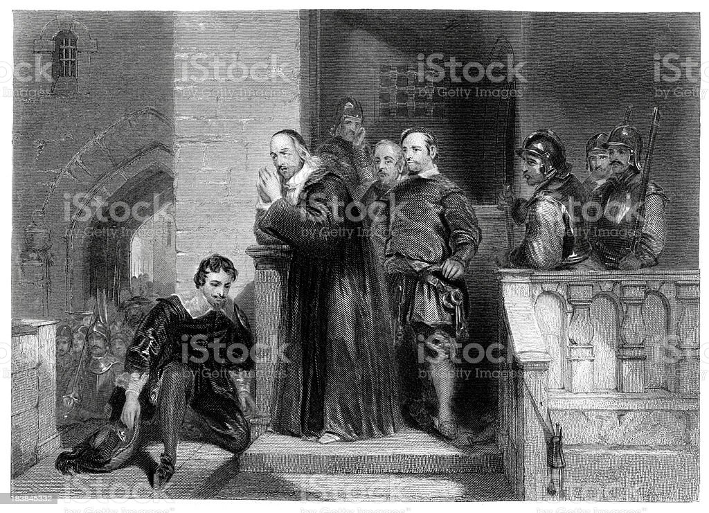 Earl of Stafford's Farewell before his execution royalty-free stock vector art