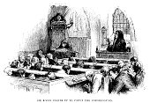 Early 18th century church congregation praying